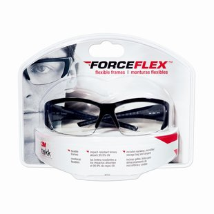 ForceFlex Flexible Safety Eyewear Black Half Frame Clear Lens