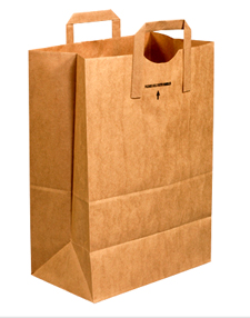 12x7x17 Flat Handle Grocery Bags