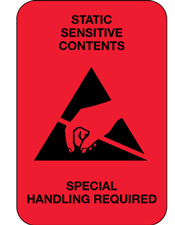 2x3 Static Sensitive Contents Fluorescent Red Labels