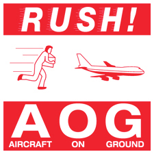 "4""x4""Rush Aircraft On Ground Labels"