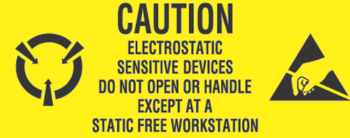 1x2-1/2 Caution Electrostatic Devices Label