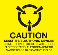 "Caution Electronic Devices Labels 2""x2"""