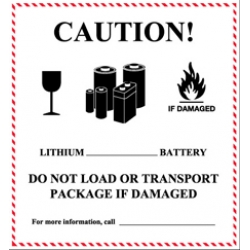 4-5/8x5 Caution Lithium Battery Handling Labels