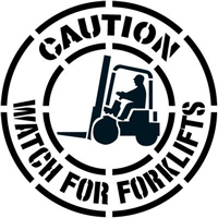 Caution Watch for Forklifts Floor Stencil