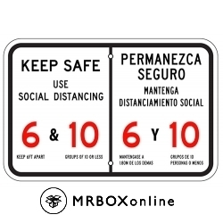 Keep Safe Social Distancing Sign 18x12 Bi Lingual