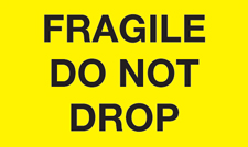 "3""x5"" Fragile Do Not Drop Yellow"