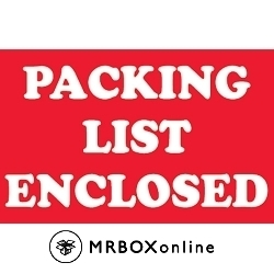 2x3 Packing List Enclosed Labels