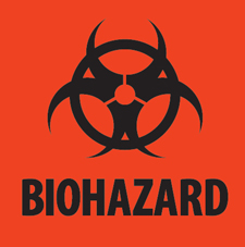 4x4 Biohazard Fluorescent Red Label