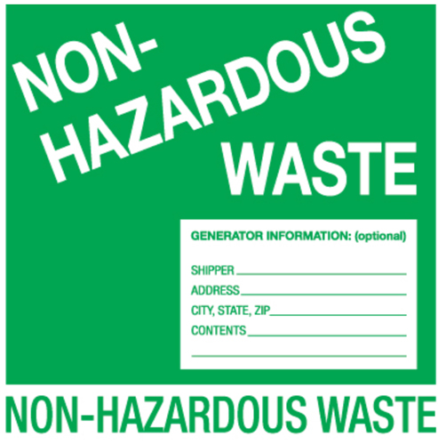 6x6 Non-Hazardous Waste Labels