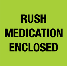 "4""x4\"" Rush Medication Enclosed Green Fluorescent"