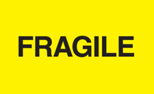 "3""x5\"" Fragile Yellow Fluorescent"