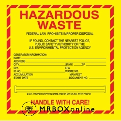 6x6 Hazardous Vinyl Waste Label