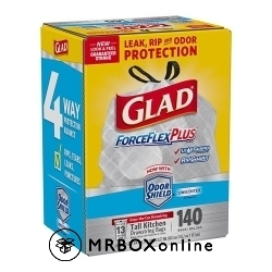 Glad ForceFlexPlus Tall Kitchen Drawstring Trash Bags 140 CT