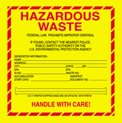 "6""x6\"" Hazardous Vinyl Waste Label"