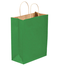 10x5x13 Kelly Green Tinted Shopping Bags
