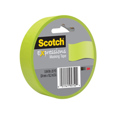 3M Scotch 1x20yds Lemon Lime Masking Tape