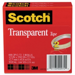 3M 600 1/2x72yds Transparent Tape