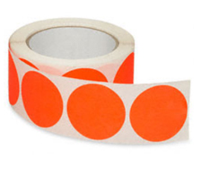 "2"" Fluorescent Orange Inventory Circle Labels"