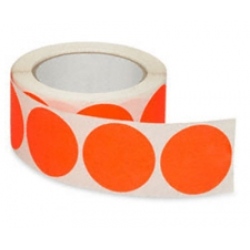 2 Fluorescent Orange Inventory Circle Labels