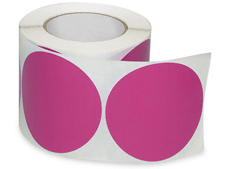 4 Fluorescent Pink Circle Labels