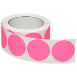 2 Fluorescent Pink Inventory Circle Labels