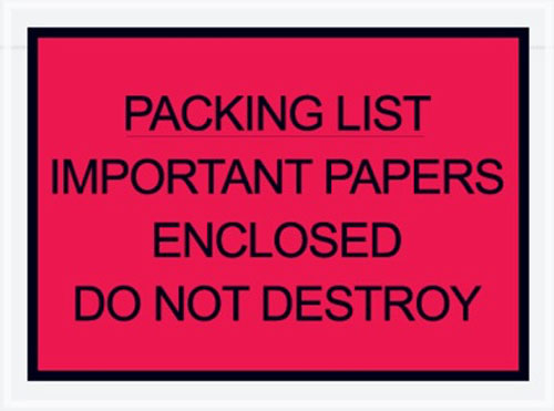 4.5x6 Important Paper Packing List Envelope