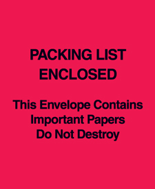 "5""x6\"" Red (Paper Face) \""Packing List Enclosed This Envelope"