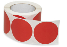 "3"" Fluorescent Red Circle Label"