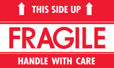 "3""x5"" This Side Up Fragile Handle With Care label"