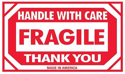 3x5 Fragile Handle With Care Thank You Labels