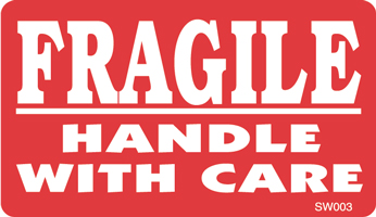 "3""x5"" Fragile Hande With Care Labels"