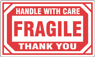 "3""x5"" Fragile Handle With Care Thank You Labels"