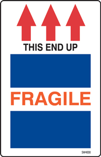 "6""x4"" Fragile This End Up Labels"