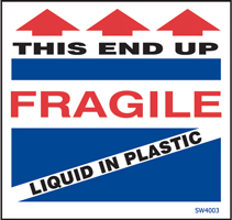 "4""x4\"" Fragile Liquid In Plastic Labels"