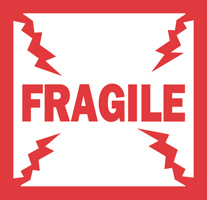 "4""x4\"" Fragile English Labels"