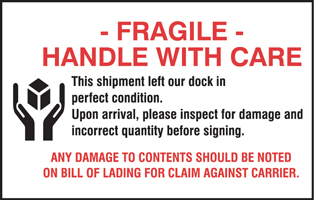 "4""x6\"" Fragile Handle With Care Damage Labels"