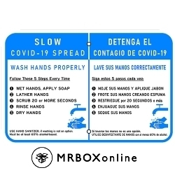 COVID-19 18x12 Aluminum Hand Washing Bilingual Sign