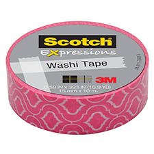 3M Scotch Expressions Washi Tape Pink Quatrefoil