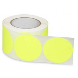 3 Fluorescent Yellow Circle Labels