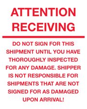 8x10 Attention Receiving Label